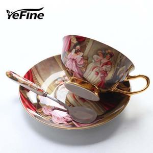 100% nuovo alta qualità di marca Bone Porcelain tazze di caffè d'epoca tazze di ceramica su -Glazed avanzata tazze e piattini Set regalo