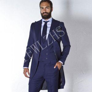 Handsome One Button Groomsmen Peak Lapel Groom Tuxedos Men Suits Wedding Prom Dinner Best Man Blazer(Jacket+Pants+Tie+Vest) W203