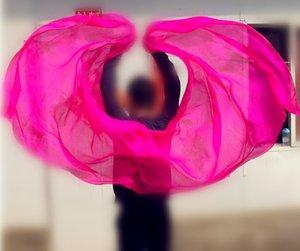 200*90cm Kids Girls Silk Veil Solid Color Bellydance Hand Thrown Scarf Shawl Children Dancer Props Pink Purple Free Shipping