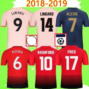 Manchester United Tailândia qualidade FC United Jersey Futebol 2018 2019 POGBA Fred LUKAKU Lingard ALEXIS 18 19 UTD camisa De Futebol homem uniforme Com logotipo campeão