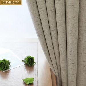 Cityincity Plaid Blackout Home Decor Cortina Sala de estar Darpe Faux Linen cortinas para el dormitorio Rideaux ventana personalizada Q190530