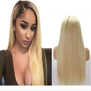 Brazilian Ombre 360 Full Lace Wig With Baby Hair 150% Density Straight 613# Blonde Glueless Full Lace Human Hair Wigs For Black Women