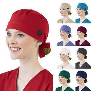 Donna cotone bendaggio regolabile Scrub Cap Parasudore sbuffo cappello da uomo in bicicletta Solid cappelli esterni Proteggere polvere Mascarillas Masque
