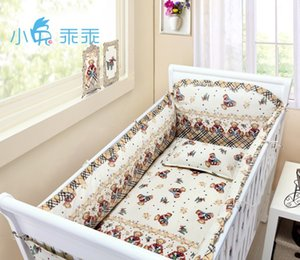Promotion! 6PCS baby cot bedding kit 100% cotton crib set 100% cotton baby bed around,include(bumper+sheet+pillow cover)