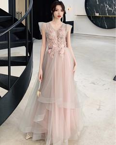 2020 New Dust Pink Prom Dresses Vestidos de Fiesta de Noche A-line Lace Appliqued Ruffles Backless Lace Up Evening Dress Formal Dresses