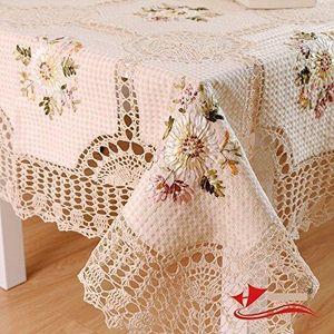 Designer 100% Handmade Crochet Tablecloth,Elegant European Rustic Floral Table Decoration,Cotton Linen Hollow Out Table Cloth Y200421