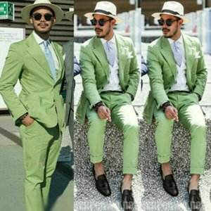 Green Men Suits Slim Fit Two Button Peaked Lapel Groom Wedding Wear Beach Casual Party Prom Tuxedos(Jacket+Pants)
