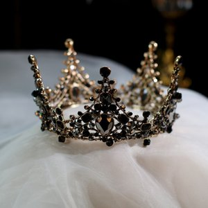 JaneVini Barock Kinderkrone Runde Schwarze Kristalle Frauen Prinzessin Kronen Tiara Kleine Kopfbedeckungen Frauen Brautpartei Haarschmuck 2019