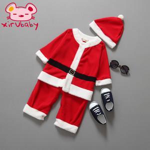 Xirubaby de la ropa del bebé de la muchacha de Santa Claus Navidad viste el vestido y el nuevo año infantil ropa S200107