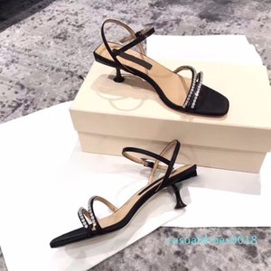 Kitten Heel Sandals Women Summer Daily Sandal Luxury Leather Black Shoes Fashion Ankle Strap Squared Toe With Crystals Female Sandals c18