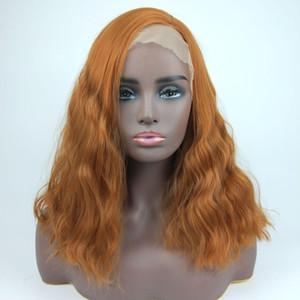 Heiß! 18inches synthetische Spitze-Front-Perücke Lange Golden Orange Perücken für schwarze Frauen-Wellen-Haar Weibliche Peruca frontal Versaute Curly LACEWIG
