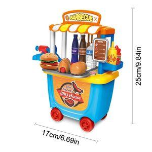 Children Pretend Play House Small Fun Simulation Barbecue Car Ice Cream Car Tool Cart Birthday Christmas Present