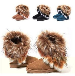 NEW Women's Boots autumn and winter snow boots Feathers fox fur flat-bottomed short cotton-padded shoes winter boots XMAS gift #