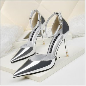 Korean fashion pointed pearl high-heeled patent leather sexy word with sandals stiletto professional OL women's shoes C