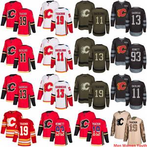 Hommes Femmes personnalisés Calgary Youth Flames Jersey 13 Johnny Gaudreau 19 Tkachuk 11 Mikael Backlund 93 Sam Bennett Etats-Unis Drapeau Hommes chandails de hockey