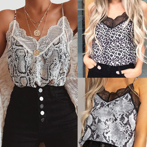 Women Sexy V Neck Animal Printed Cami Tank Vest Blouse Lace Patchwork Tank Tops