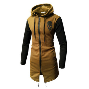 Skull Zipper Hoodie Cotton Men Long Hoodie Black Streetwear H005 3 Colors 2019 Wool Liner Hoodies Sweatshirts Men