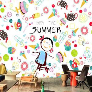 crème glacée 3D Cartoon Fond d'écran Fruit d'été peint photo papier peint Cuisine Chambre magasin Dessert Fruit restaurant revêtement mural en studio