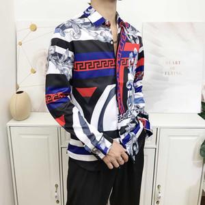 fashion new Medusa men shirt silk 3D color printing Slim