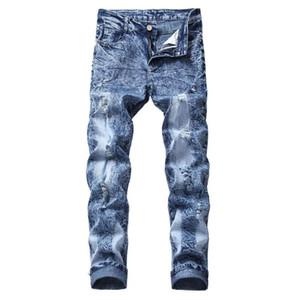 Vaqueros para hombre Pantalones rotos agujero en dificultades Stretch Jeans de hombres Pantalones Tamaño recto de la nueva marca Slim Plus 40 42