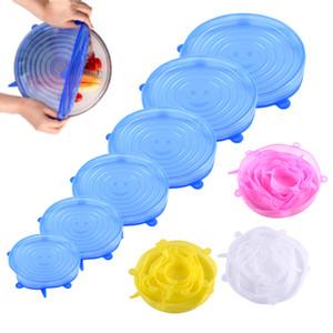 سيليكون تمدد شفط وعاء اغطية الصف الغذاء الطازج مسك التفاف ختم غطاء عموم الغلاف نيس مكملات مطابخ 6PCS / مجموعة
