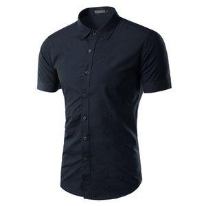 Manga corta de gran tamaño de los hombres de los hombres de las camisas sport del verano camisa de negocios sólido da vuelta-abajo Tuxedo camisas S-3XL