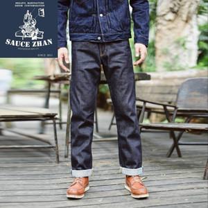 SauceZhan 316XX Casual orillo Jeans Denim Jeans sin lavar Vendo Indigo Denim Mens derecho