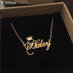 V attirer les meilleurs amis Nom cadeau personnalisé Collier Femme BFF Bijouterie Cursive Couronne Choker Femme en or rose Collier V191031