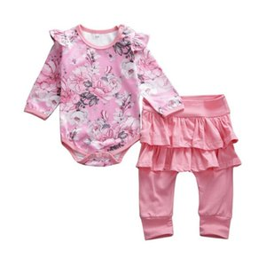 bambini Pudcoco autunno Ragazza neonato 2PCS fototecnica floreali a maniche lunghe pagliaccetto la tuta Playsuit pantaloni copre gli insiemi