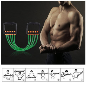 US STOCK, Portable Resistance Elastic Tube Band Indoor Chest Expander Puller Adjustable Yoga Pull Rope Exercise Fitness FY7054