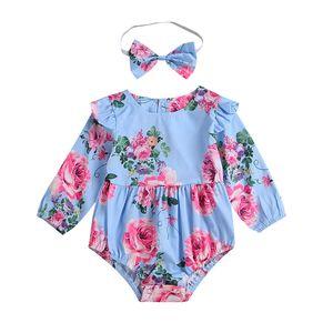 Enfants Casual Barboteuses Bandeaux filles manches longues Onesies salopette de bébé col rond imprimé floral dentelle Tassel cheveux 61 Boule