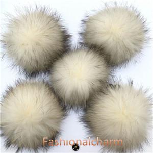 "10pcs Lot- 15cm 6"" Soft Real Genuine Raccoon Fur Pompom Ball W Button On Hat Bag Charm Key Chain Keyring DIY Accessories"