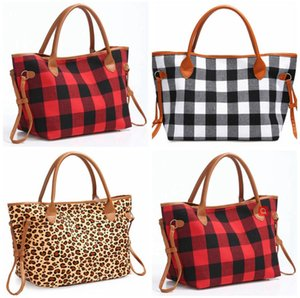 Handles Travel Handbag Duffel Big Bag Tote Capacity Print Buffalo Leopard Double PU LJJA3504-2 Plaid Large Animal Weekenders Bag Sarah Fhhn