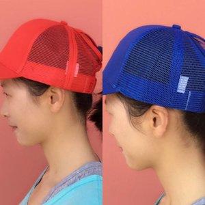 Moda 1pc Mesh Cappelli donne estate lucido paillettes fluorescenza Sun Messy Bun Snapback Caps Baseball