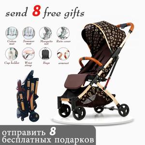 frete grátis 5,8 kg carrinho leve carro moldura de ouro portátil dobra carrinho de bebê Umbrella recém-nascido Viajando Pram em avião