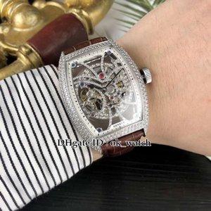 Collezione uomo di alta qualità Diamond bezel 8880 B S6 SQT D quadrante scheletro Tourbillon automatico Mens cinturino in pelle da uomo Gents orologi sportivi