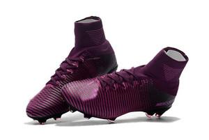 Sapatos Preto CR7 Futebol botas Mercurial Superfly V FG Futebol C Ronaldo 7 Top Quality prata Mens Futebol Grampos