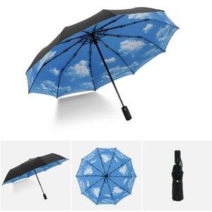 Reinforced Umbrella Three Folding Male Female Parasol Full Automatic Rain Women Windproof Business Betty Boop
