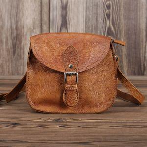 الحبوب الكاملة جلدية حقائب خمر براون المرأة الكتف هيئة الصليب حقيبة يد سيدة موضة مصنع بالجملة