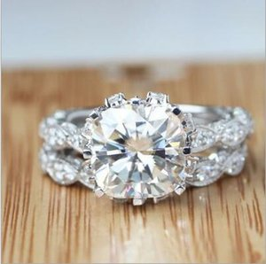 Anelli all'ingrosso Vecalon Vintage Anello di fidanzamento Wedding Band Set per le donne 3CT anello diamante simulato CZ 925 Sterling Silver partito femminile