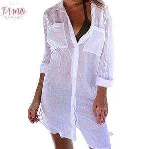 Button spiaggia delle donne di occultamento di Down tasca T-shirt protezione solare Bikini Swimsuit camicetta di estate Hot Sexy Slim belle donne Camicia Cd