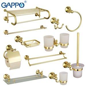 Gappo conjuntos de hardware baño de oro de papel toalla barra porta accesorios de baño titular de papel higiénico jabón cepillo titular de la cesta de lujo T200425