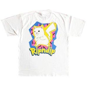2020 Hip Hop EE.UU. animado de primavera y verano moda Catch em todo camiseta gato dedo monopatín divertido Middle Men Gato de la historieta mujeres de la camiseta de la calle camiseta