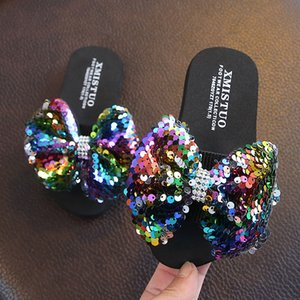 Rainbow multicolor children's slippers summer girl cute bow princess sandals outdoor parent-child beach slippers large size