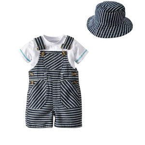 Summer Baby Boy Clothes Set Short Sleeve T-Shirt Tops Casual Stripe Strap Pants Hat Outfits Set 3pcs V
