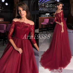 Burgundy Lace Appliques Off Shoulder 3 4 Sleeve Beads Evening Dresses Sweep Train 2020 New Formal Party Prom Gown Evening Gown Plus Size