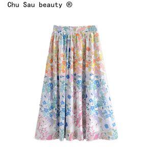 Chu Sau bellezza di New Fashion Blogger stampa floreale alta vita del pannello esterno dolce delle donne Chic vita elastica lungo chiffon Gonne Femminile