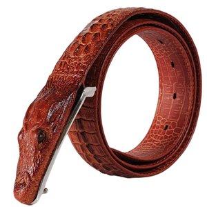 New Buckle Vintage Cintos Moda Couro realista Crocodile Buckle Alligator Padrão Men Belts