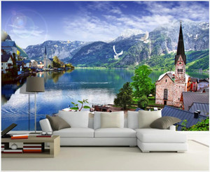 WDBH personalizzato foto murale 3d carta da parati da sogno austriaci stile lago di montagna murales soggiorno arredamento 3d Tappezzeria per parete 3 d