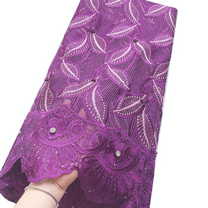 WorthSJLH African Lace Material Swiss Voile French Nigeria Lace Fabric Beads Lavender Bridal Cord Lace Fabric For Aso Ebi 2020